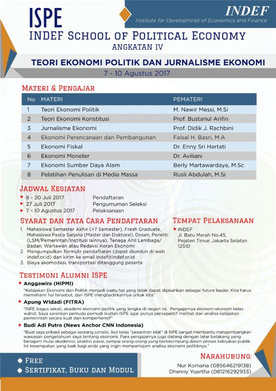 INDEF School of Political Economy (ISPE): Teori Ekonomi Politik dan Jurnalisme Ekonomi